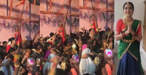 ഇക്കുറിയും ഭാരതാംബയായി അനുശ്രീ ; രാഷ്ട്രീയം കാണല്ലേയെന്ന് താരം